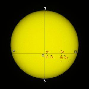 """<a href=""""http://saplimoges.fr/limage-du-mois-de-juillet-2012-mesure-de-la-periode-de-rotation-du-soleil/""""><b>Superposition de 2 Soleils (© 2012 Michel Vampouille, saplimoges)</b></a>"""