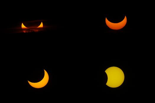 Phases successives de l'éclipse de soleil du 4 janvier 2011 Saplimoges, APN Canon EOS 40D + téléobjectif Canon Phases successives de l'éclipse de soleil du 4 janvier 2011 Saplimoges, APN Canon EOS 40D + téléobjectif Canon + bague active : f = 625 mm