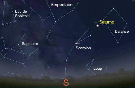 Saturne Stellarium 11 juillet 2015