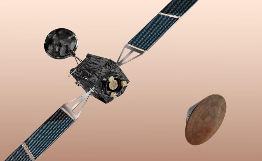 Exomars 2016. L'orbiteur TGO (à gauce) et l'atterrisseur EDM. (à droite). Crédits Thales Digital Communications.