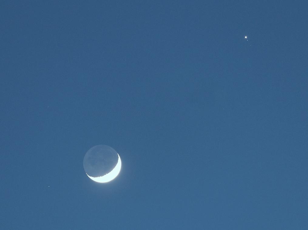 Lune cendrée+Jupiter+étoile